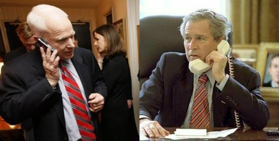 Bush and McCain, talking on the Phone